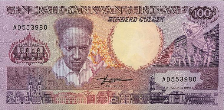 Surinam / Suriname P.133b 100 Gulden 1988 (1)