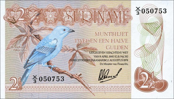 Surinam / Suriname P.118b 2 1/2 Gulden 1978 (1)