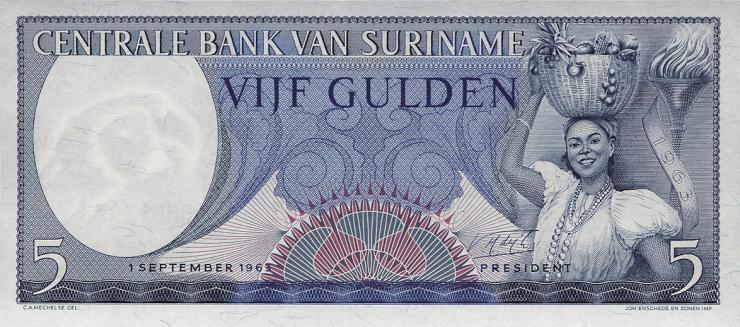 Surinam / Suriname P.120b 5 Gulden 1963 (1)