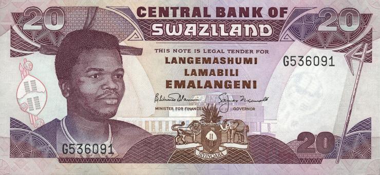 Swasiland / Swaziland P.21b 20 Emalangeni (1992) (1)