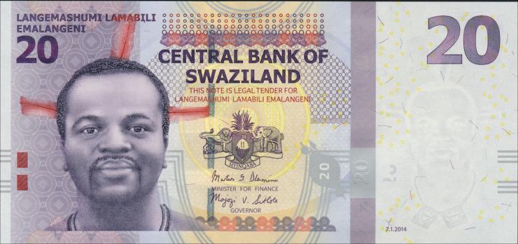 Swasiland / Swaziland P.37b 20 Emalangeni 2014 (1)