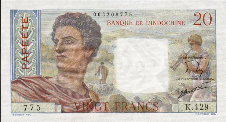 Tahiti P.21c 20 Francs (1963) (1/1-)