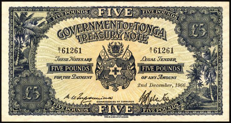 Tonga P.12d 5 Pounds 1966 (2/1)