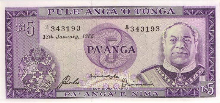 Tonga P.21c 5 Pa´anga 1989 (1)