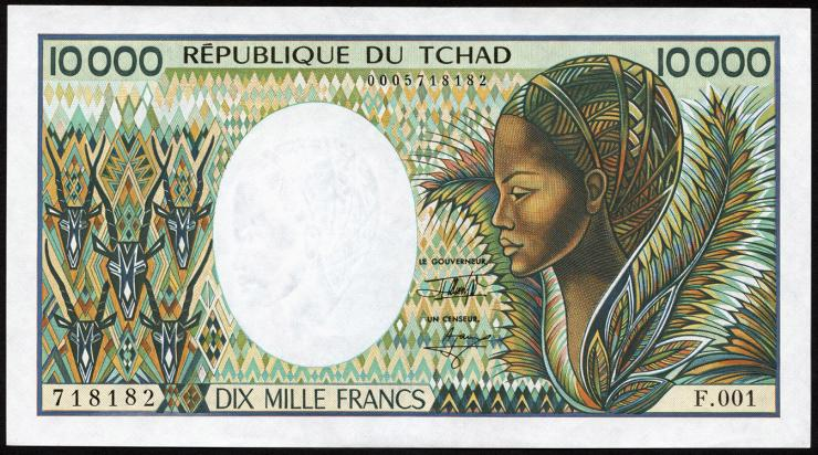 Tschad / Chad P.12b 10000 Francs (1984-91) (2+)
