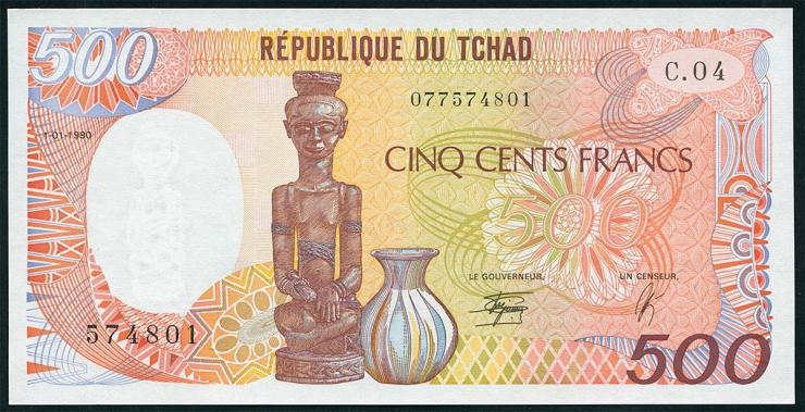 Tschad / Chad P.09c 500 Francs 1990 (1)