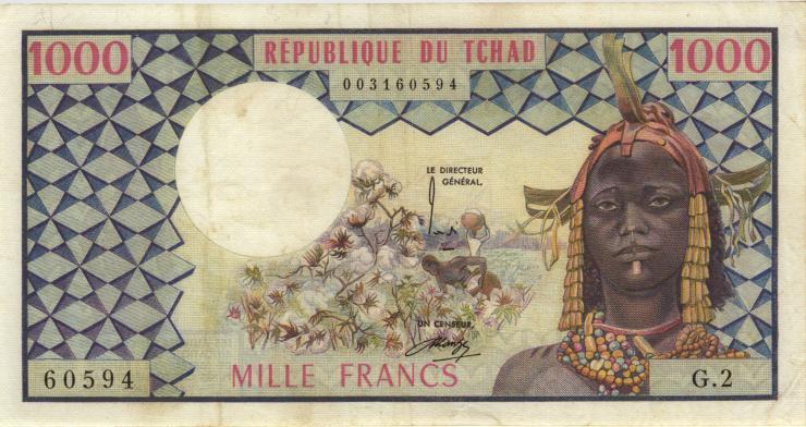 Tschad / Chad P.03b 1000 Francs o.J. (3+)