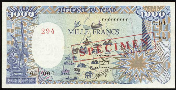 Tschad / Chad P.10As 1000 Francs 1985 Specimen (1)