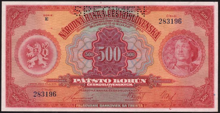 Tschechoslowakei / Czechoslovakia P.24s 500 Kronen 1929 Specimen (1)