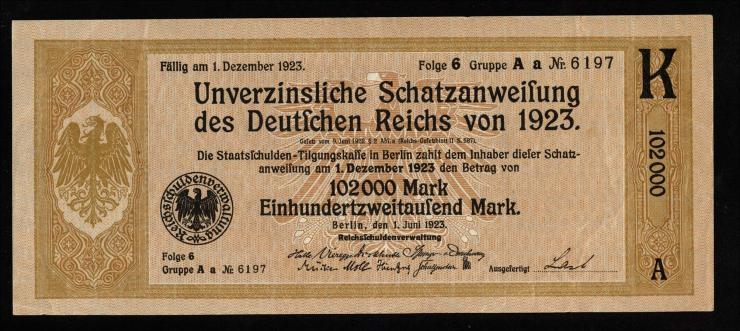 102.000 Mark Schatzanweisung 1923 (1-)