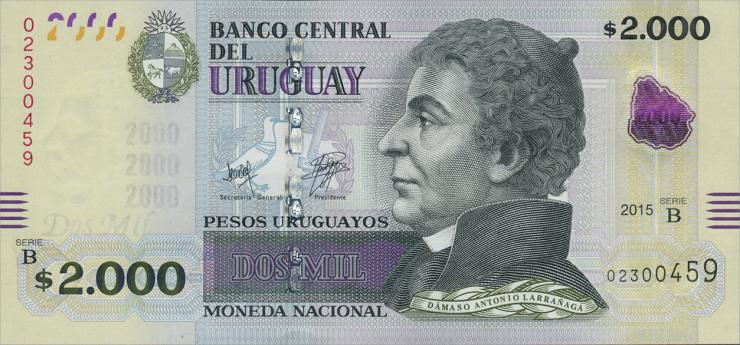 Uruguay P.99 2000 Pesos Uruguayos 2015 (1)