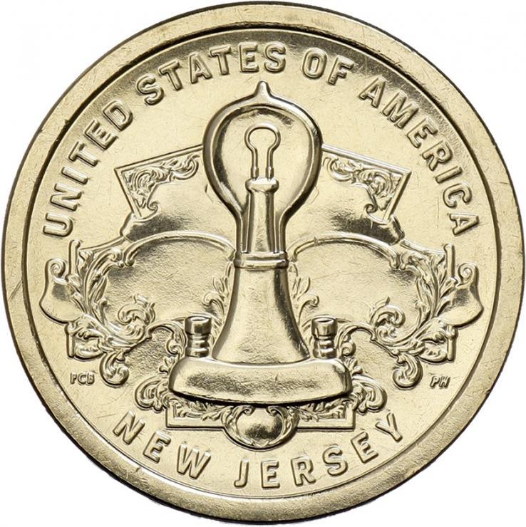 USA 1 Dollar 2019 Erfindung der Glülampe - New Jersey
