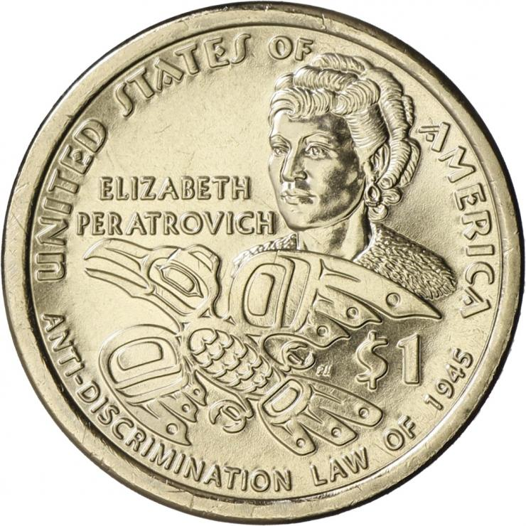 USA 1 Dollar 2020 Indianerin /Elizabeth Peratrovich - Anti-Discrimination Law