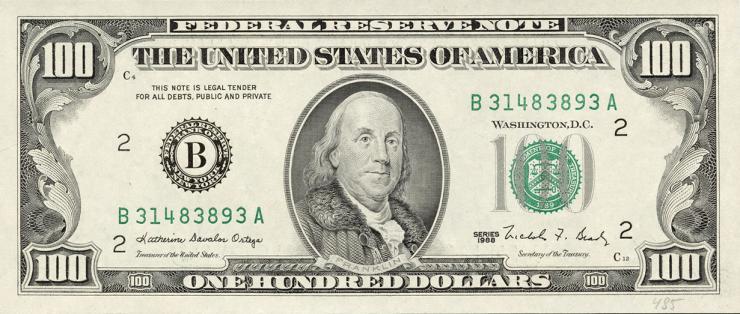 USA / United States P.485 100 Dollars 1988 (1)