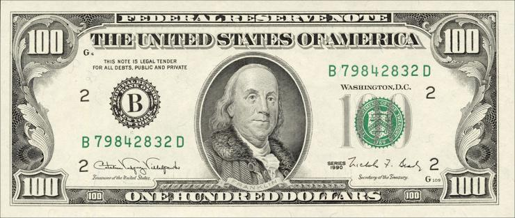 USA / United States P.489 100 Dollars 1990 (1)