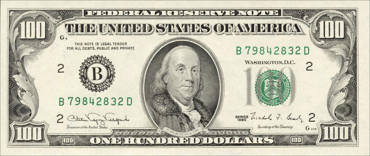 USA / United States P.489 100 Dollars 1990 (1)