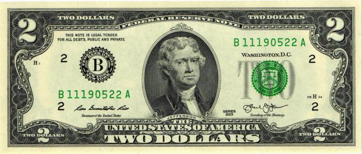 USA / United States P.538 2 Dollars 2013 B (1)