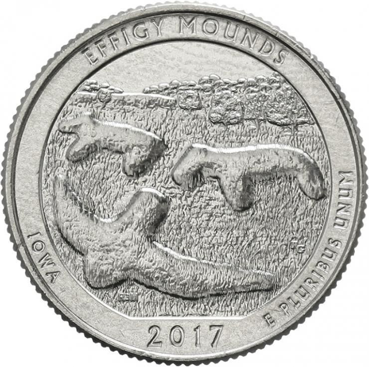 USA 1/4 Dollar 2017 36. Effigy Mounds National Monument