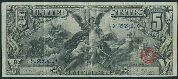 USA / United States P.337 5 Dollar 1896 Silver Certificate (3)