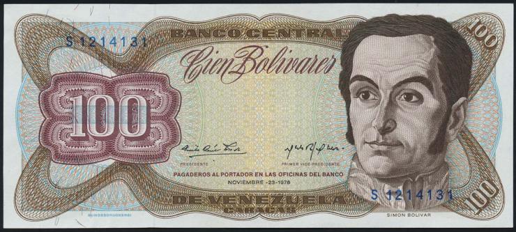 Venezuela P.55d 100 Bolivares 1976 (1/1-)