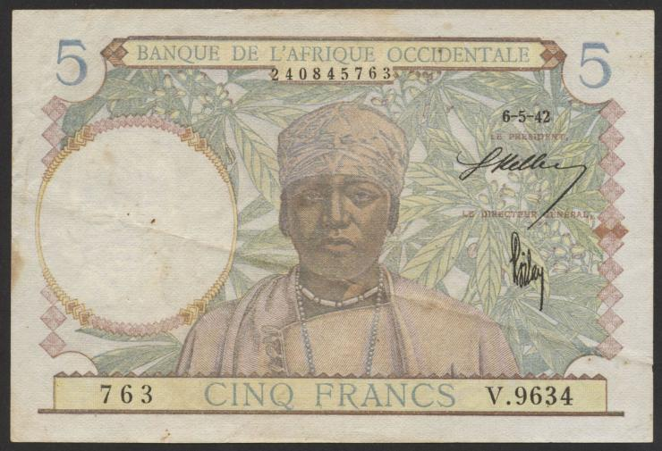 Franz. Westafrika / French West Africa P.25 5 Francs 1942 (3)