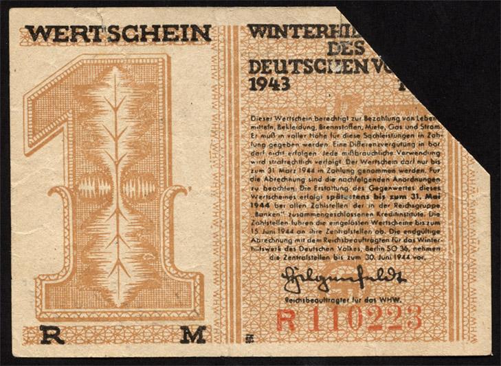 WHW-40 Winterhilfswerk 1 Reichsmark 1943/44 entwertet (1)