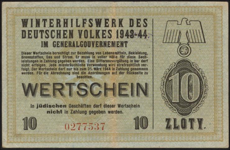 WHW Gutschein 10 Zloty 1943-44 Generalgovernement (2)