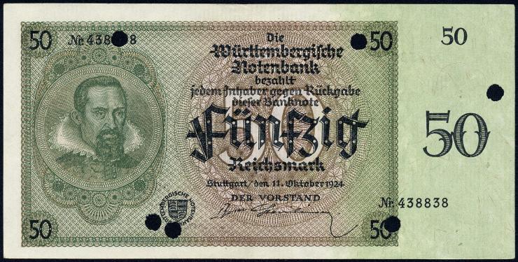 R-WTB 27: 50 Reichsmark 1924 entwertet (1/1-)