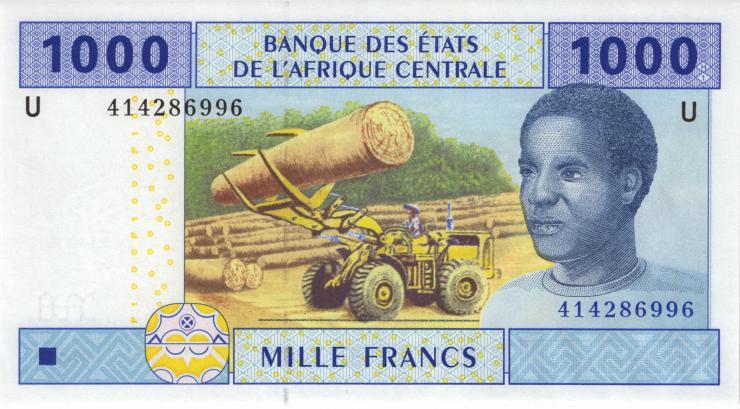 Zentral-Afrikanische-Staaten / Central African States P.207Uc 1000 Fr. 2002 (1)
