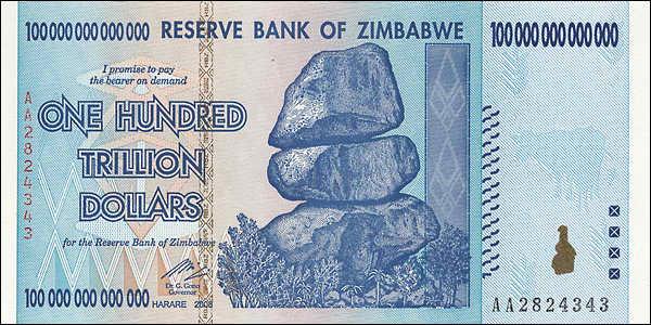Zimbabwe P.91 100 Trillionen Dollars 2008 (1)