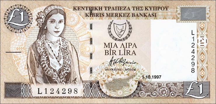Zypern / Cyprus P.60a 1 Pound 1.10.1997 (1)