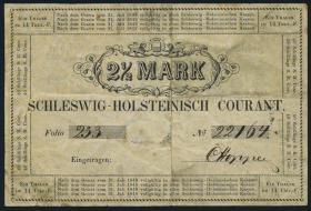 A-488 Schleswig - Holstein 2 1/2 Mark 1848 (3-)