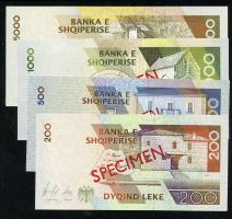 Albanien / Albania P.63-66s 200 - 5000 Leke 1996 Specimen (1)