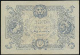 Algerien / Algeria P.071b 5 Francs 27.2.1917 (2-)