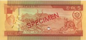 Äthiopien / Ethiopia P.31bs 5 Birr (1976) Specimen (1)