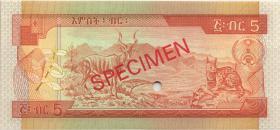 Äthiopien / Ethiopia P.42cs 5 Birr (1991) Specimen (1)