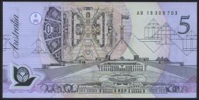 Australien / Australia P.50a 5 Dollars (1992) AB 19 Polymer (1) last prefix