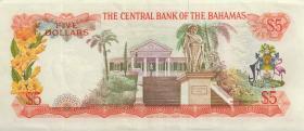 Bahamas P.37b 5 Dollars L. 1974 (3+)