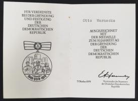 """B.0287 Ehrenmedaille """"30 Jahre DDR"""" mit Urkunde"""