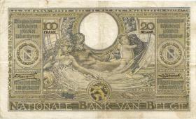 Belgien / Belgium P.107 100 Francs = 20 Belgas 1934 (3+)