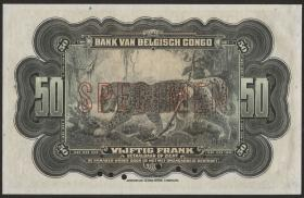 Belgisch-Kongo / Belgian Congo P.16a 50 Francs (1942 ) Spc.