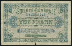 Belgien / Belgium P.088 5 Francs 1915 (3-)