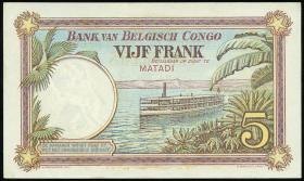 Belgisch-Kongo / Belgian Congo P.08c 5 Francs 25.12.1924 (1)