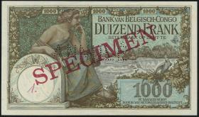 Belgisch-Kongo / Belgian Congo P.12s 1000 Francs o.D. Specimen (2+)