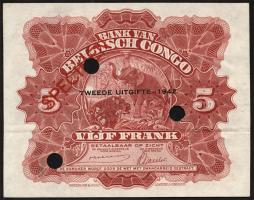 Belgisch-Kongo / Belgian Congo P.13s 5 Francs 1942 Specimen (1-)