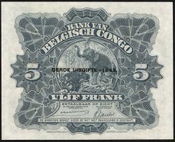 Belgisch-Kongo / Belgian Congo P.13Aa 5 Francs 1942 3. Emission (1)