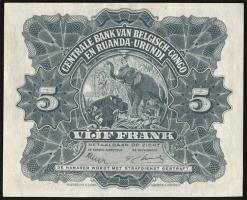 Belgisch-Kongo / Belgian Congo P.13B 5 Francs 1.11.1952 (1)