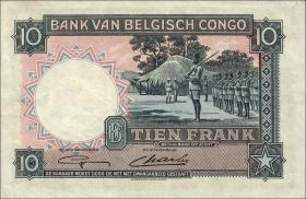 Belgisch-Kongo / Belgian Congo P.14E 10 Francs 11.11.1948 (2+)