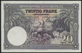 Belgisch-Kongo / Belgian Congo P.15As 20 Francs 10.3.1942 Specimen (1)