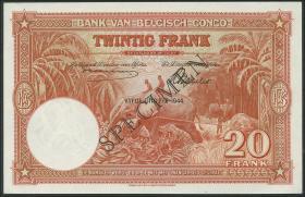 Belgisch-Kongo / Belgian Congo P.15Ds 20 Francs 10.5.1944 Specimen (1)